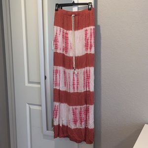 Tye Dye peach and white maxi skirt